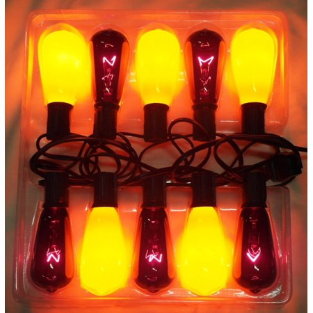10 Purple and Orange Edison E17 Style Halloween Lights - 9 ft Green Wire