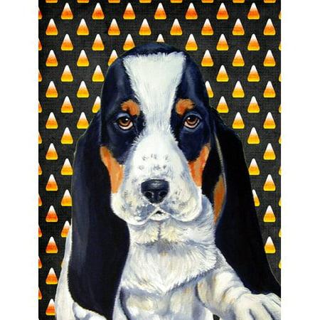 Basset Hound Candy Corn Halloween Portrait Flag