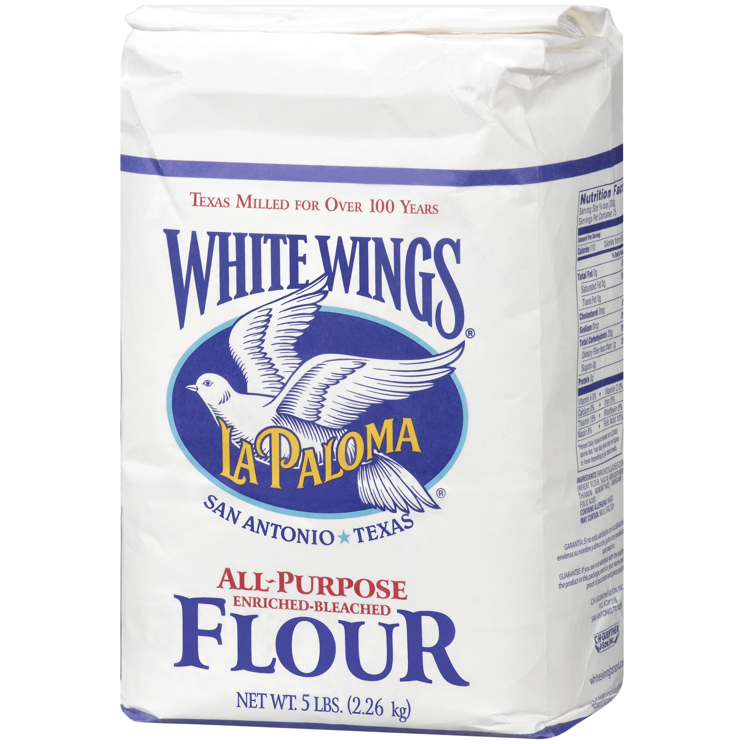 La Paloma White Wings All Purpose Enriched Bleached Flour 5 Lbs