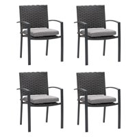 CorLiving Charcoal Grey Wide Rattan Wicker Patio Dining Chairs, set of 4