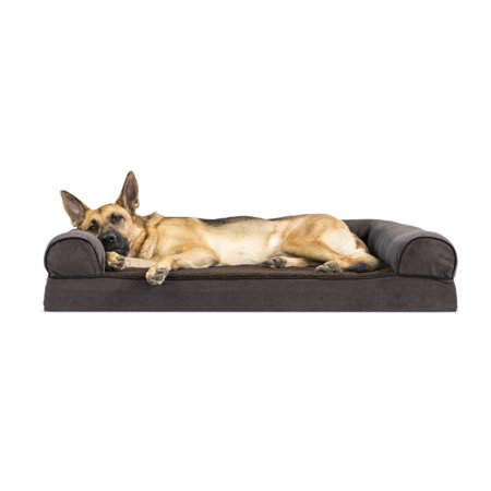 Jumbo Coffee - FurHaven Pet Dog Bed | Memory Foam Faux Fleece & Chenille Couch Sofa-Style Pet Bed for Dogs & Cats, Coffee, Jumbo