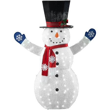 Holiday Time 72-Inch Light-Up LED Fluffy Snowman with Top Hat, Scarves and Gloves
