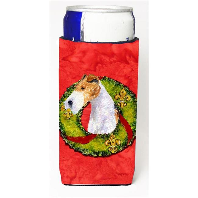 Carolines Treasures SS4168MUK Fox Terrier Christmas Wreath Michelob Ultra bottle sleeves For Slim Cans - 12 oz. - image 1 de 1