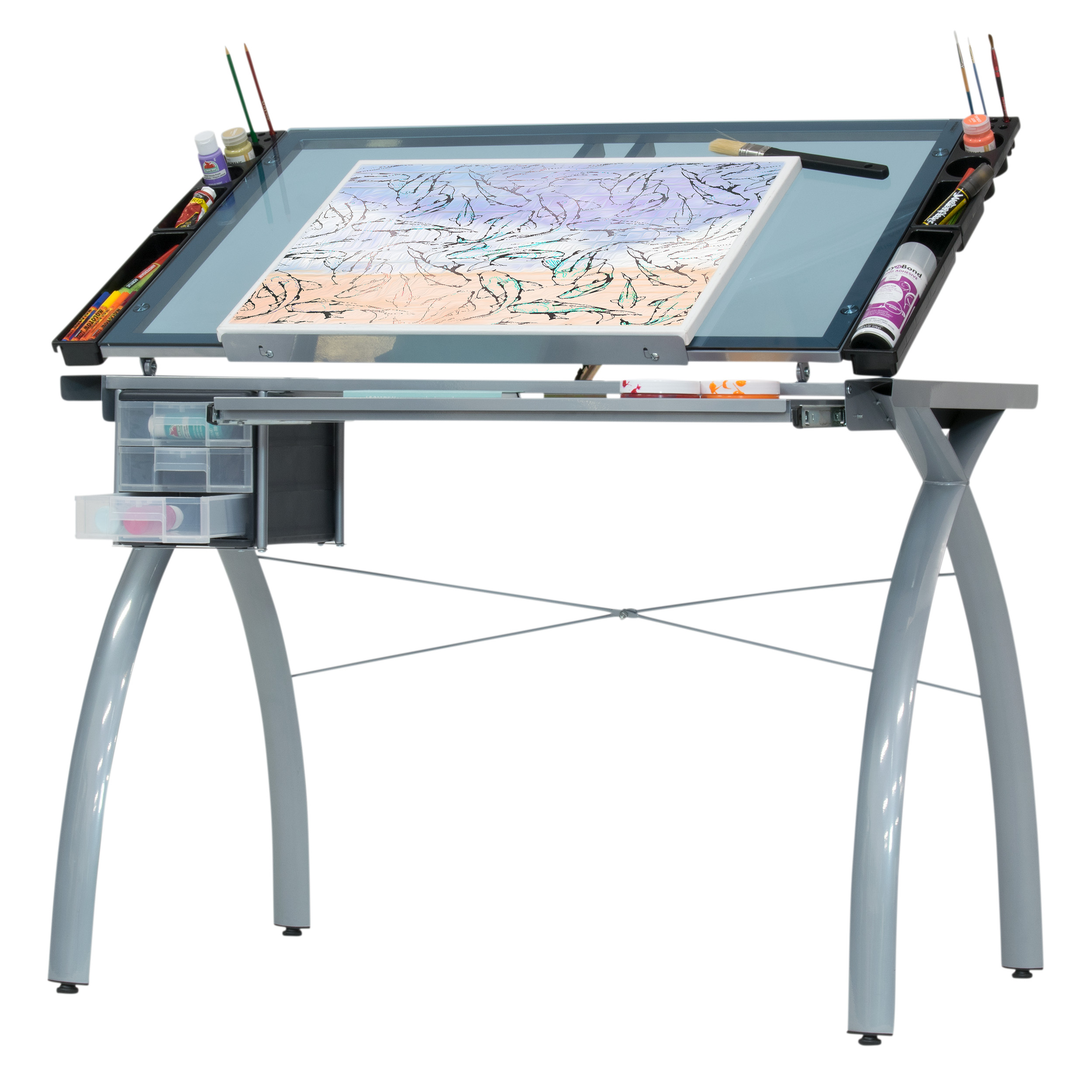 Studio Designs Alpha Craft Station - Glass Top Drafting and Craft Table