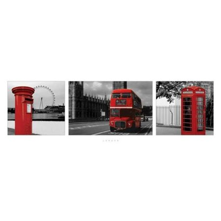 London Red Phonebooth Bus Mailbox Triptych Photo Poster 36X12