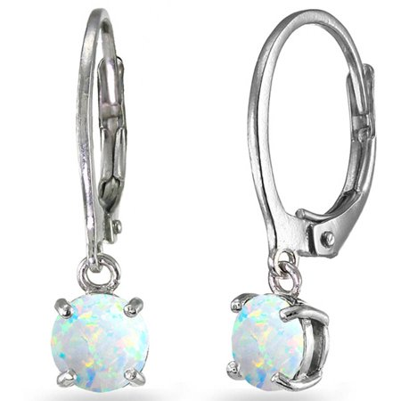 Created White Opal Sterling Silver 6mm Round Dangle Leverback Earrings Created Opal Leverback Earrings