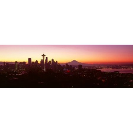 High angle view of a city at sunrise Seattle Mt Rainier King County Washington State USA 2013 Canvas Art - Panoramic Images (18 x 6)