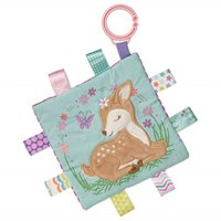 taggies soothing sensory crinkle me toy with baby paper and squeaker, flora fawn, 6.5 x 6.5-inches