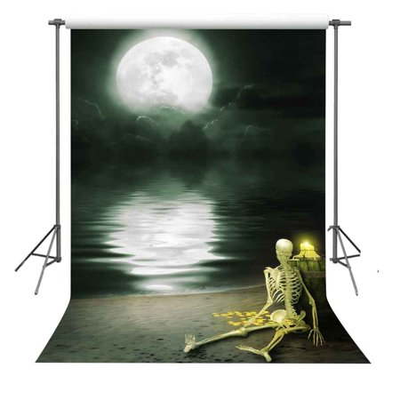 GreenDecor Polyster 5x7ft Beach and Moon Backdrop Party Prom Background Photography Studio - Prom Background