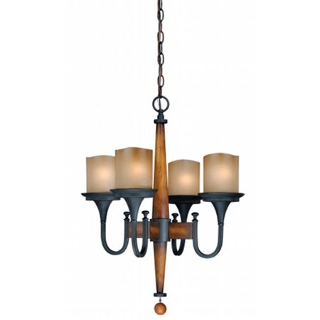 Vaxcel International H0025 Meritage 4L Chandelier   Charred Wood And Black Iron