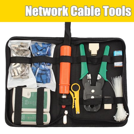 RJ11 RJ45 Cat5e Cat6 Network Ethernet LAN Kit Crimping Tool Cable Tester -
