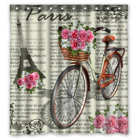 YKCG Vintage Romantic Paris Effiel Tower Pink Floral Flower Bike Shower Curtain Waterproof Fabric Bathroom