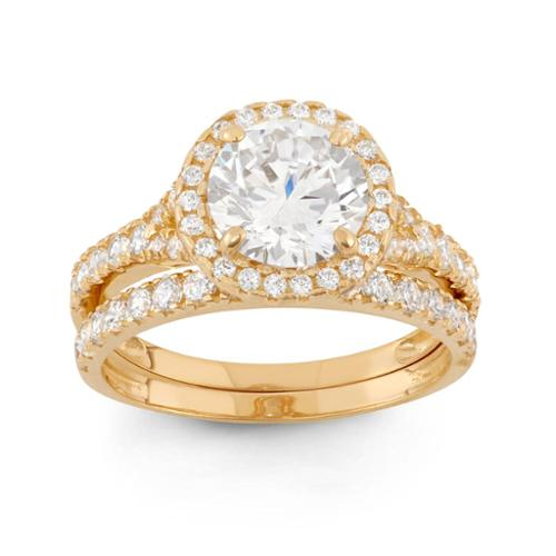 10k Gold 3 4/5ct TGW Round-cut Cubic Zirconia 2-piece Bridal Set Ring 10KT Yellow Gold- Size 6