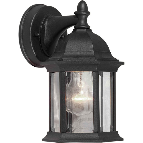 5 One Light Outdoor Wall Lantern with Clear Glass - Finish: Black