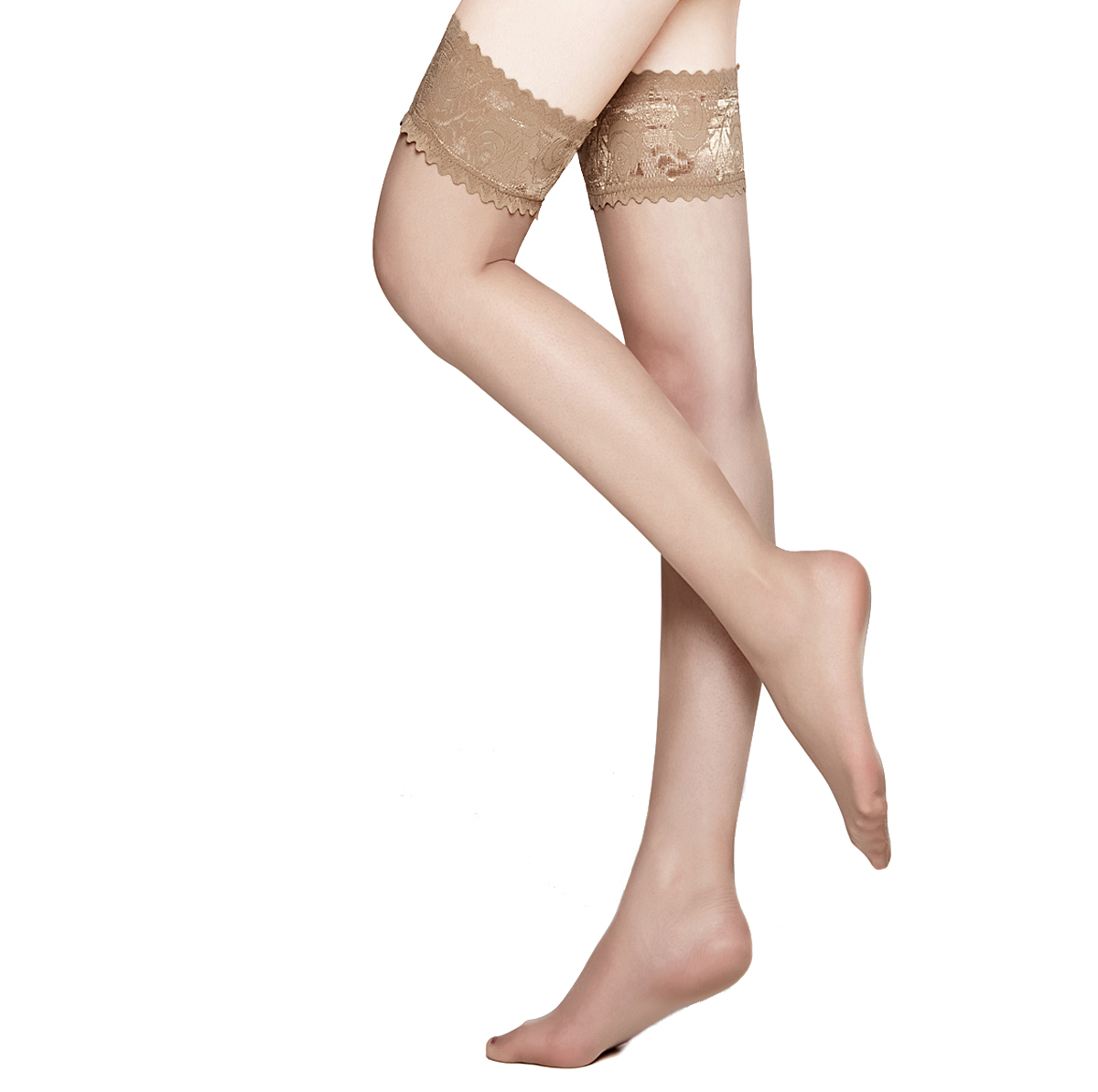 MOOCHI Women 20 Denier Ultra Sheer Beige Thigh High Stockings with Silicone Lace Top