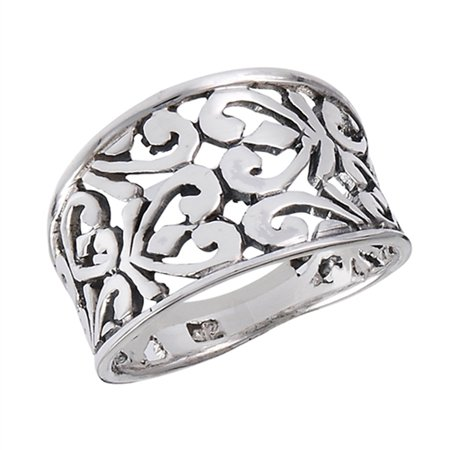 Wide Oxidized Filigree Heart Fashion Ring .925 Sterling Silver Band Size 8