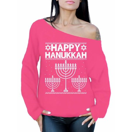ed8365be995 Awkward Styles Happy Hanukkah Off the Shoulder Sweatshirt Sweater Jewish  Menorah Ugly Christmas Sweater for Women Xmas Off shoulder Top Slouchy  Oversized ...