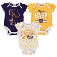 Girls Newborn & Infant Russell Athletic Purple LSU Tigers Three-Pack Bodysuit Set