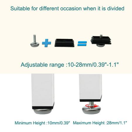 Leveling Feet 30 x 60mm Rectangle Tube Insert Adjustable Furniture Glide 4 Sets - image 2 de 7