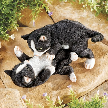 Collections Etc. Tabby Kittens at Play Indoor or Outdoor Garden Statue Décor, Cat Lovers Gift, Orange and