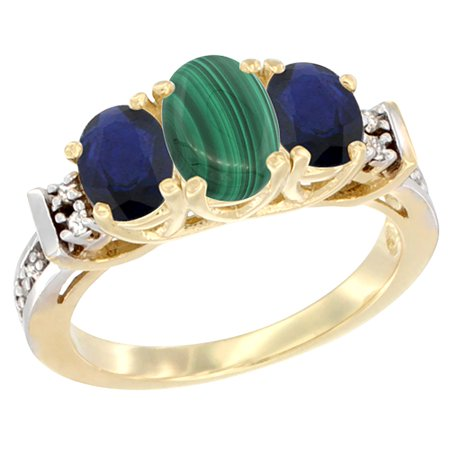 14K Yellow Gold Natural Malachite & High Quality Blue Sapphire Ring 3-Stone Oval Diamond Accent, size 5.5 (Gold Malachite)
