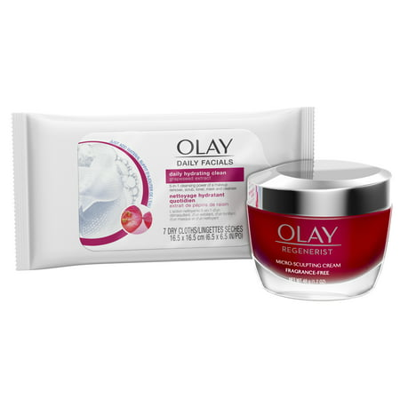 Olay Regenerist Micro-Sculpting Cream Face Moisturizer, Fragrance-Free 1.7 oz + Daily Facial Dry Cleansing Cloths, 7