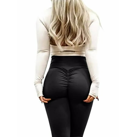 Red Activewear - FITTOO Activewear Yoga Leggings, Women Sexy Ruched Butt High Waist Yoga Pants Butt Lift Stretchy Workout Gym Leggings - Solid Color