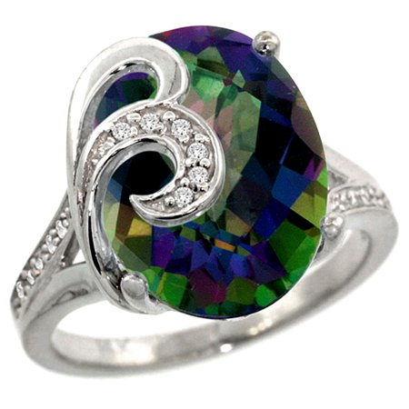 14k White Gold Natural Mystic Topaz Ring 16x12 mm Oval Shape Diamond Accent, 5/8 inch wide, size 5