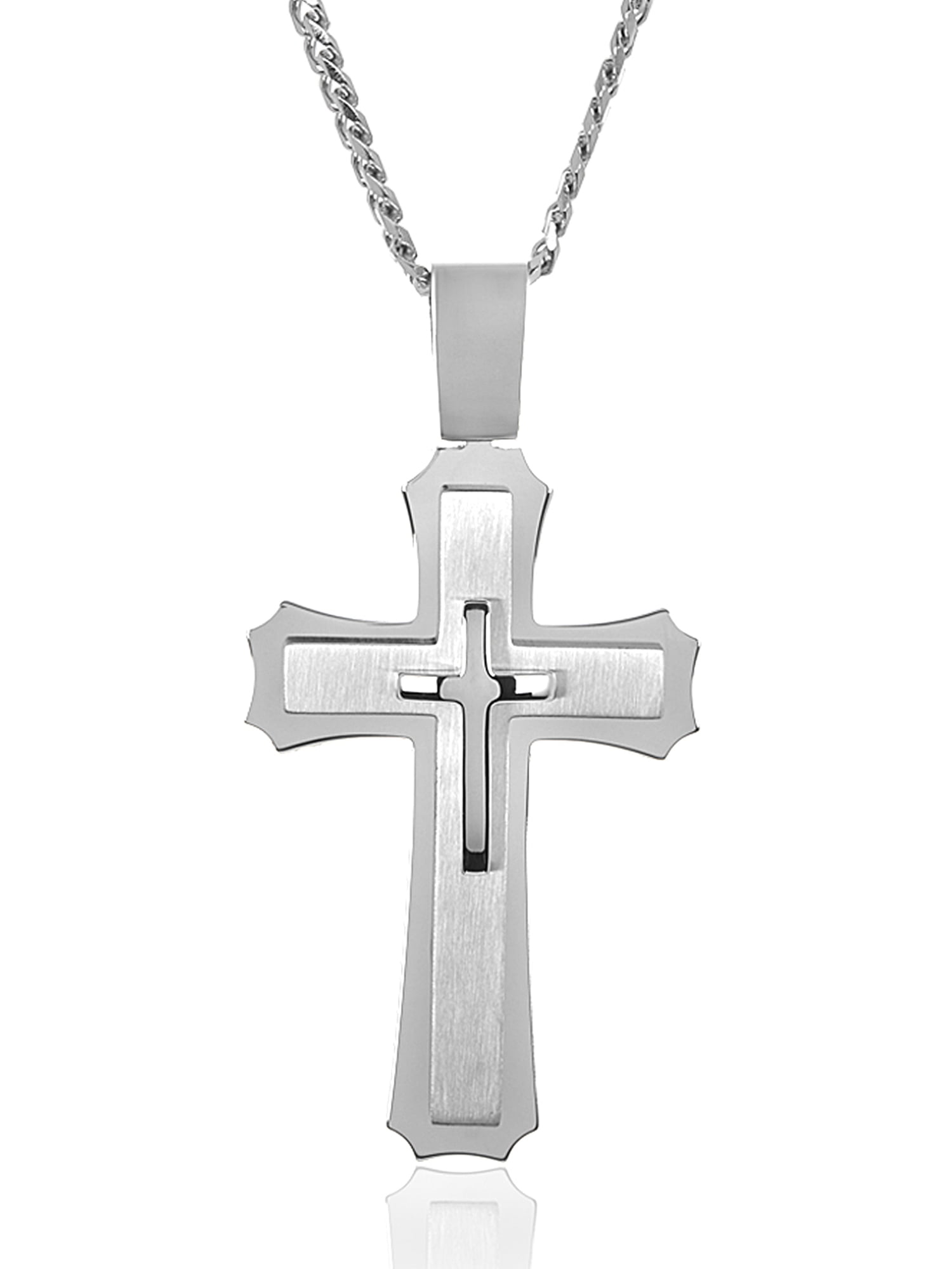 Crucible Stainless Steel Men's Large Cross Pendant by West Coast Jewelry
