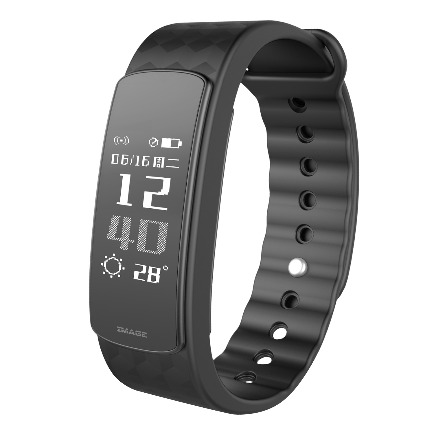 IMAGE Waterproof Wireless Bluetooth Fitness Trackers Smart Bracelet Watch Wrist Band w/ Touch Screen for IOS Android Phone