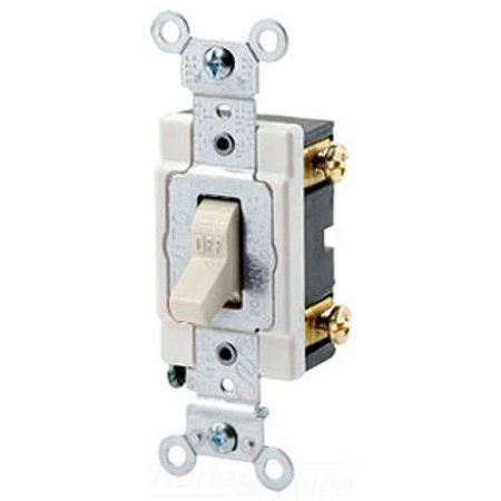 Leviton 1221-ST 20-Amp, 120/277-Volt, Toggle Single-Pole AC Quiet Switch, Heavy Duty Spec Grade, Grounding, Light Almond Lighted Quiet Switch