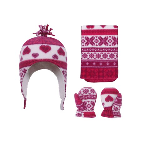 Patterned Sherpa Lined Hat, Scarf & Glove Set, Heart Print, 2-4 Year