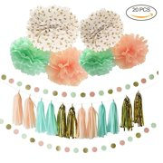 unichart 20 pcs pink gold mint yellow assorted colors diy party tissue paper tassel garland pom pom flower