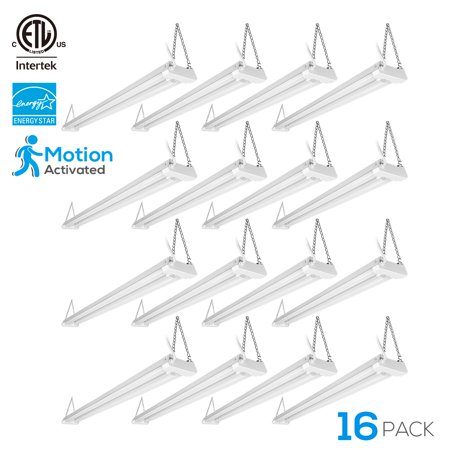 LEONLITE 16 Pack 4ft LED Shop Light, Linkable Surface Mount Light Fixture with Motion Activated Utility, for Office, Hallways, Garage, Laundry Room, 5000K Daylight