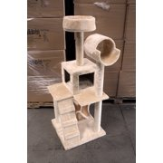 "HIDING CAT TREE 49"" Tall Cat Tree Tower Condo Furniture Scratch Post Kitty Pet House Play Furniture Sisal Pole Stairs and Hammock (Beige)"