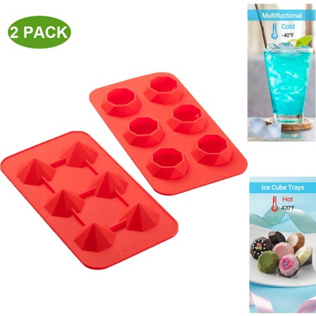 Ice Cube Tray Silicone Flexible 6 Cavity Ice Maker For Whiskey And Cocktails, Keep Drinks Chilled Red (2pc/Pack)