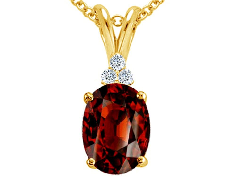 Tommaso Design Oval 10x8mm Genuine Garnet Pendant Necklace by