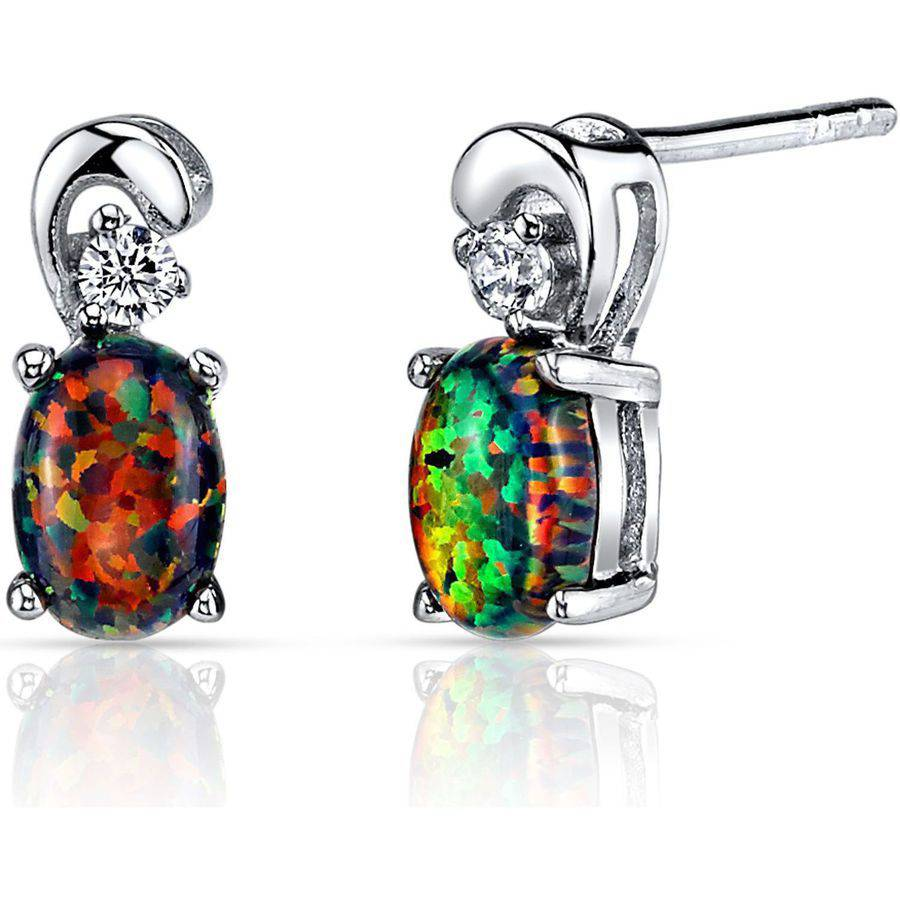 Oravo 1.00 Carat T.G.W. Oval-Shape Black Opal Rhodium over Sterling Silver Stud Earrings
