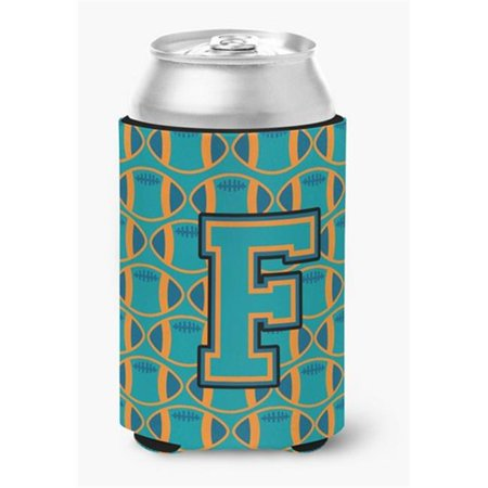Letter F Football Aqua, Orange & Marine Blue Can or Bottle Hugger - image 1 de 1