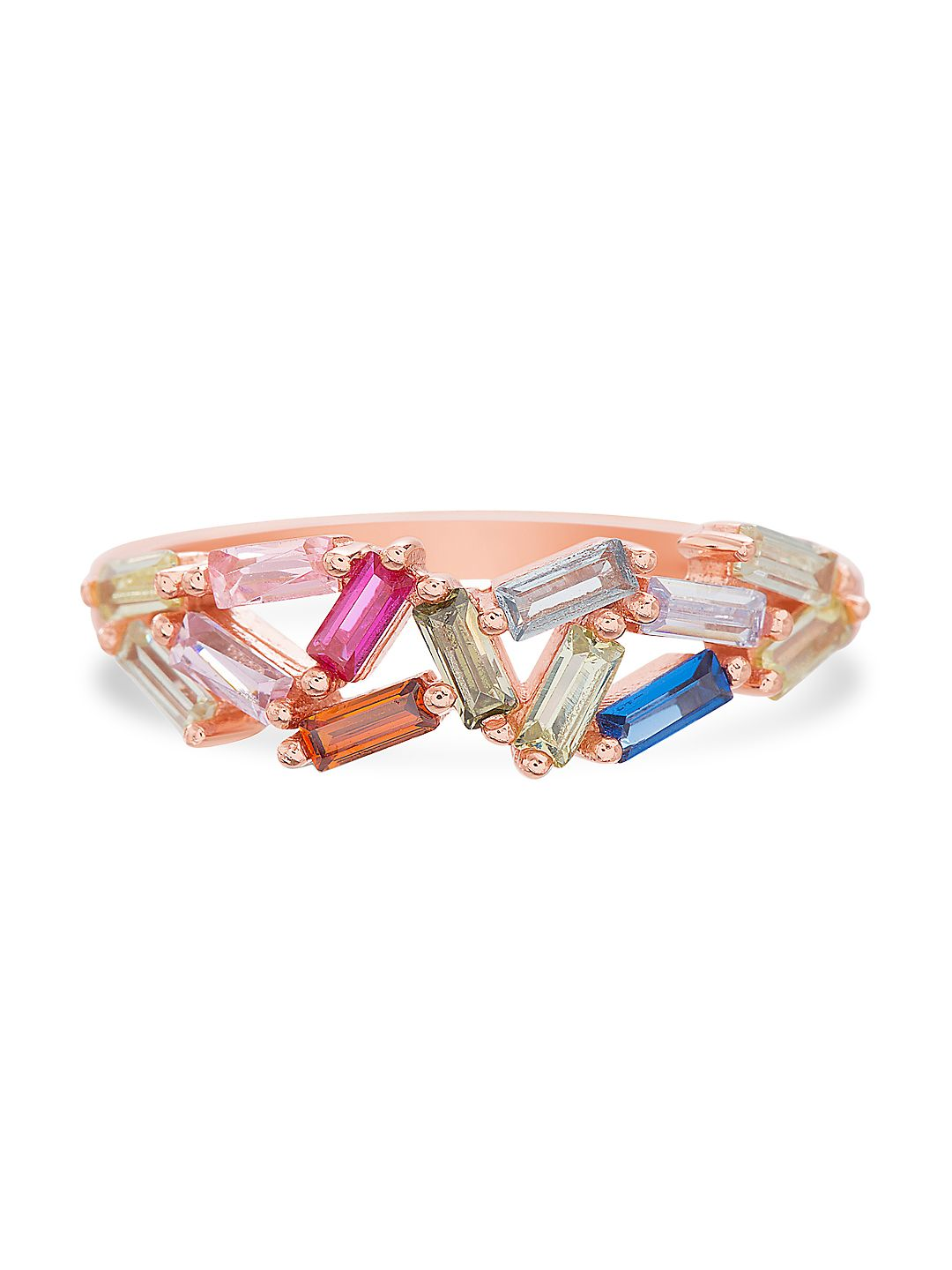 Lesa Michele Multicolored Crystal Baguette-Shaped Cluster Style Ring