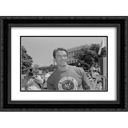 Arnold Schwarzenegger On Capitol Hill For An Event Related To The Presidents Council On Physical Fitness And Sports 24X18 Double Matted Black Ornate Framed Art Print