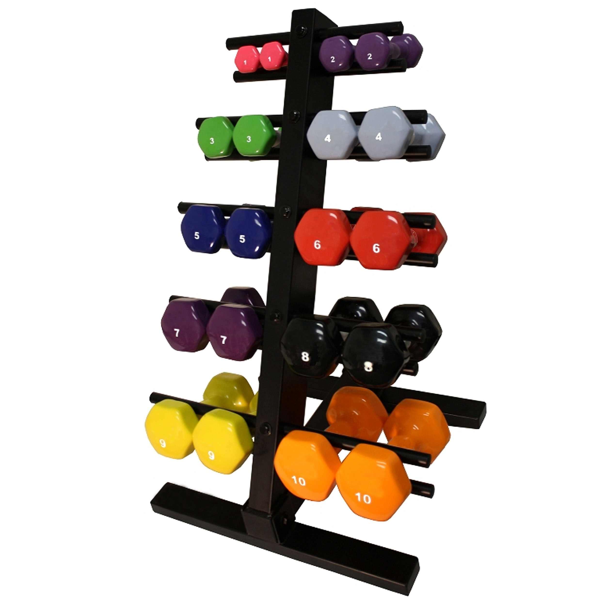 Harvil 10-Pair Vinyl Encased Dumbbell Set with 2-Sided Vertical Dumbbell Rack. Dumbbell Weights from 1 to 10 lbs.