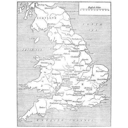 Stretched Canvas Art Map Of England Na Map Of England As It