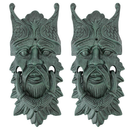 Castle Gladstone Greenman Cast Iron Door Knocker: Set of Two
