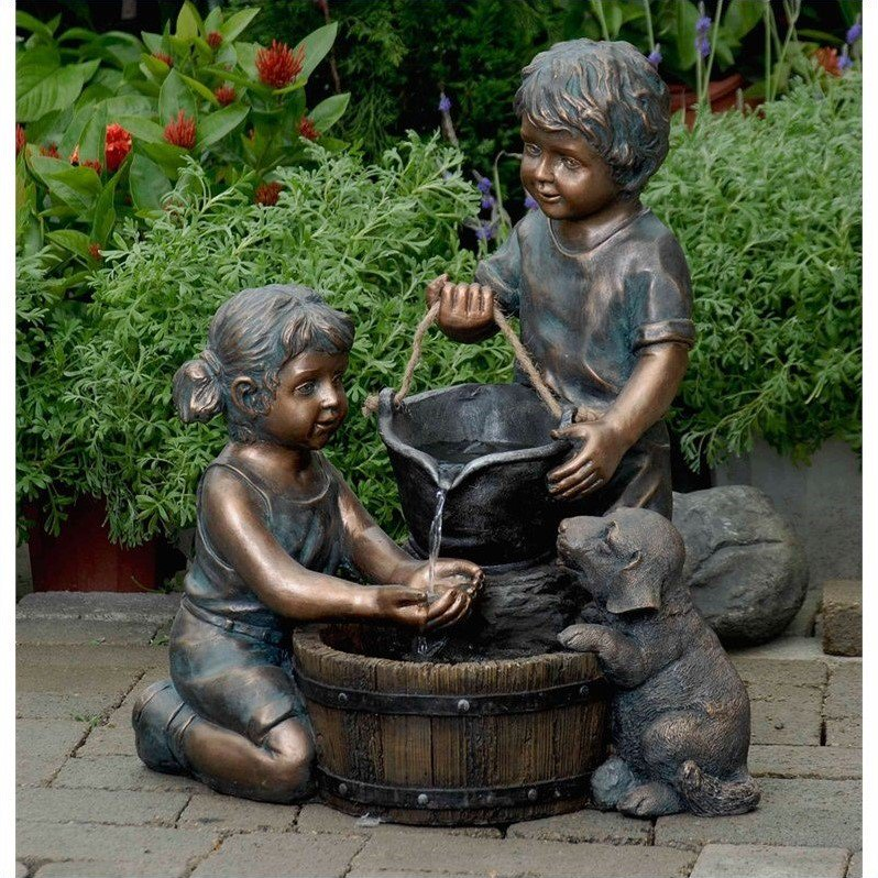 Jeco Two Kids And Dog Outdoor Indoor Water Fountain