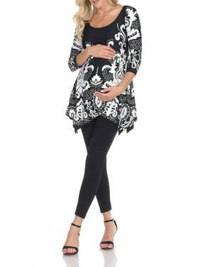 White Mark Women's Maternity Ganette Tunic Top