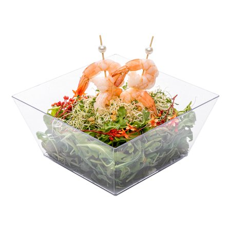 "Medium Modern Bowl - Square Clear Bowl - Perfect for Catered Events, Weddings, Parties, Banquets - 6.7"" x 6.7"" - 25ct Box"