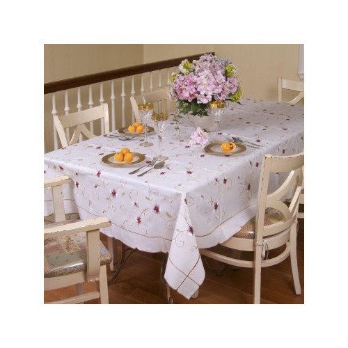 Violet Linen Ascott Embroidered Tablecloth