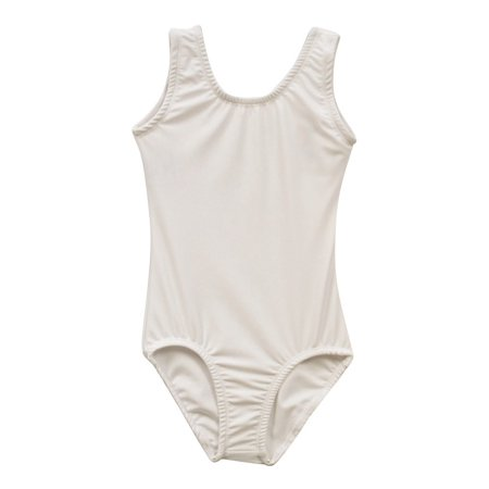Little Girls White Solid Color Full Front Lining Tank Dancewear Leotard 2-4](Full Body Leotard)