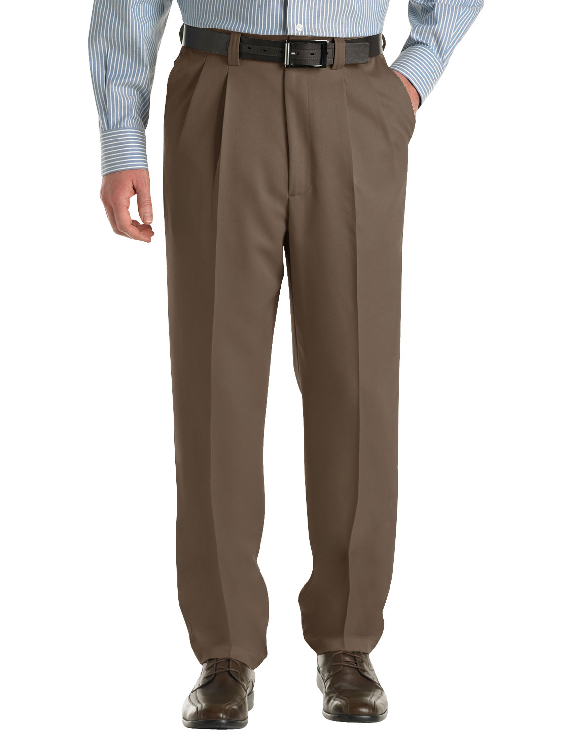 Men's Big & Tall Oak Hill Waist-Relaxer Pleated Microfiber Pants